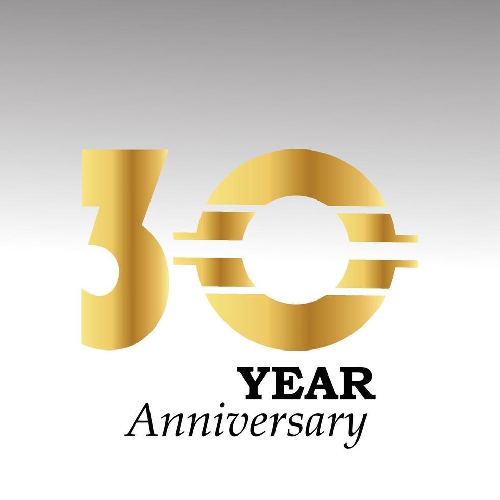 Ilustração de design de modelo vetorial elegante de aniversário de 30 anos vetor