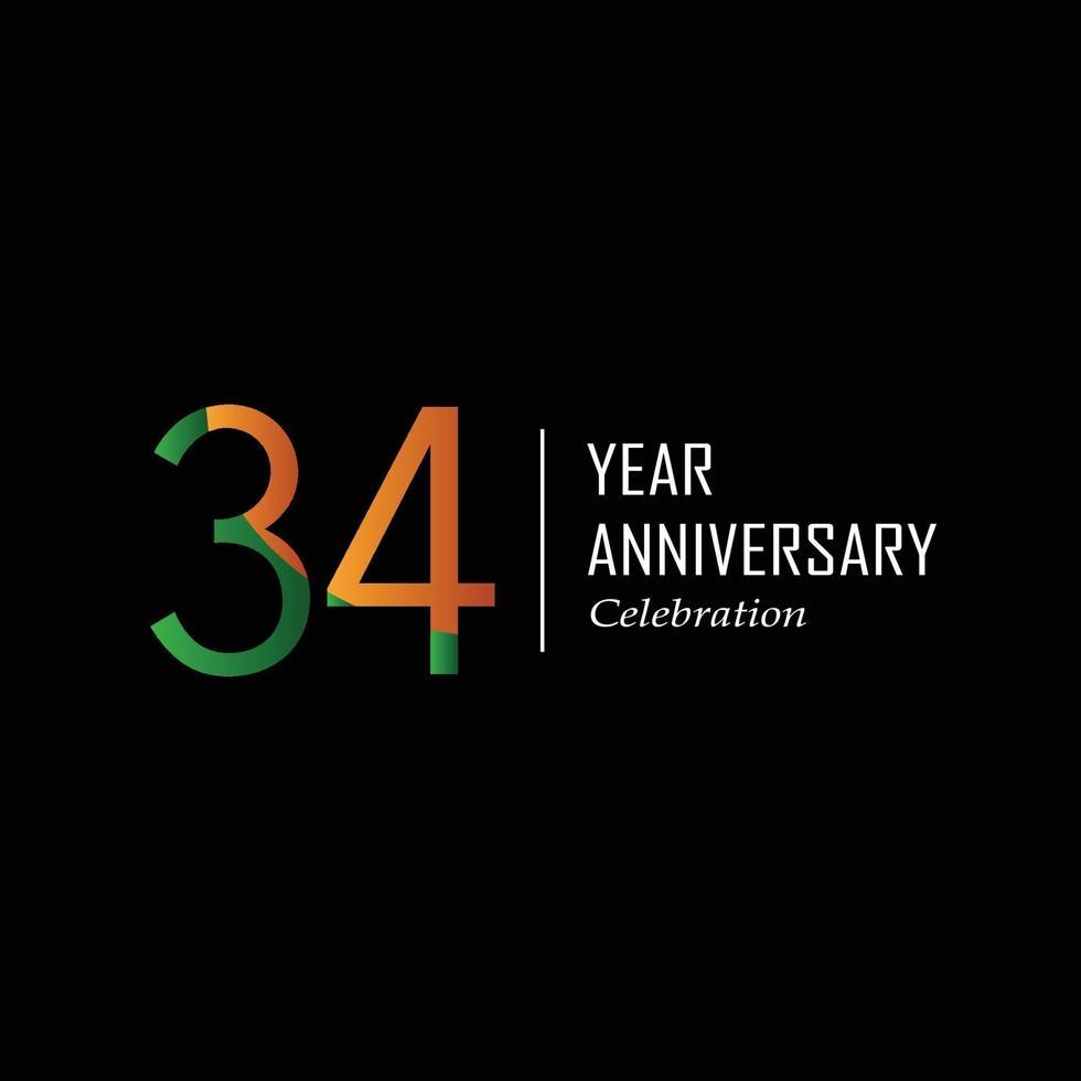 Festa do 34º aniversário. ilustração vetorial. vetor