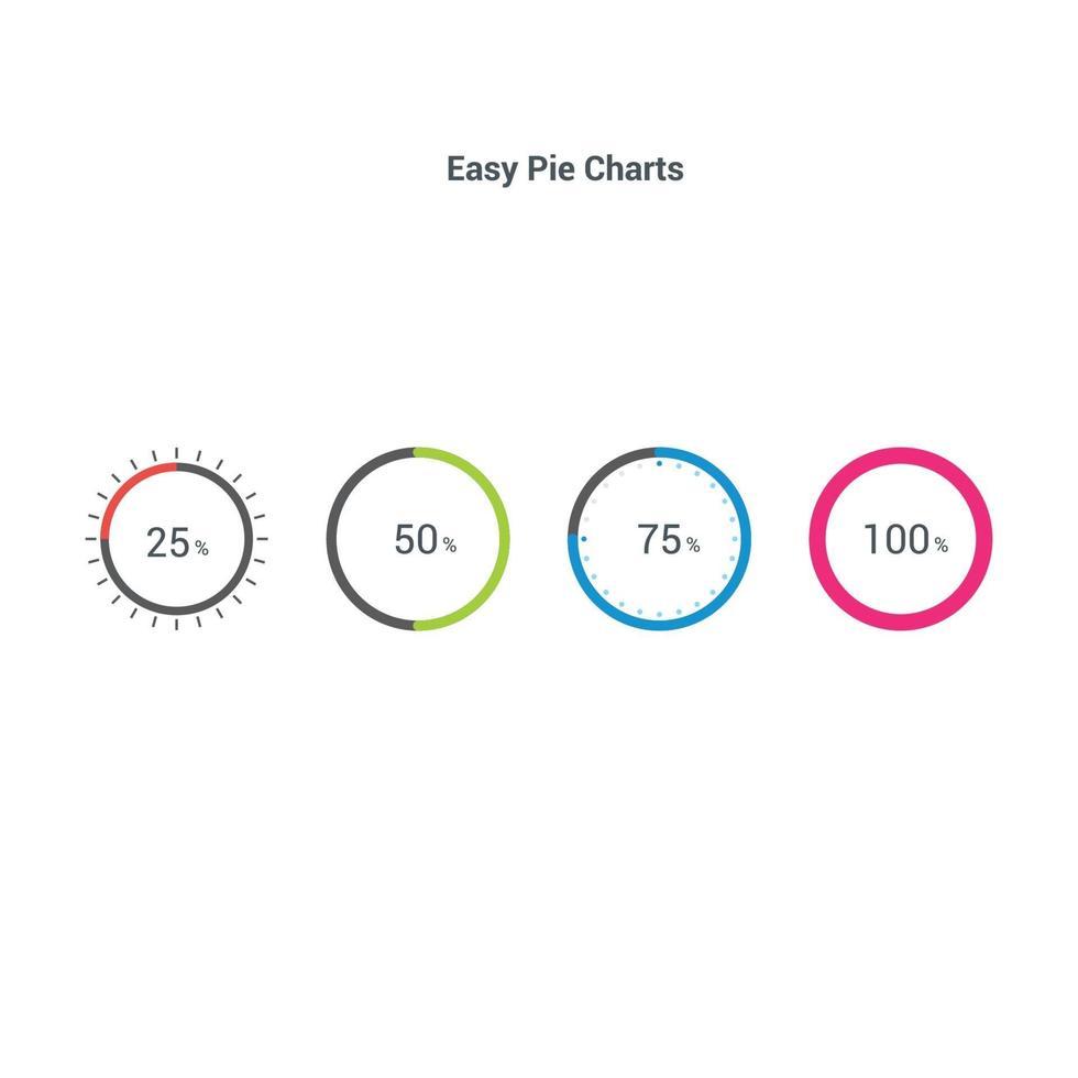 gráficos de setores circulares de elementos de mercado de dados de negócios ilustração vetorial. vetor