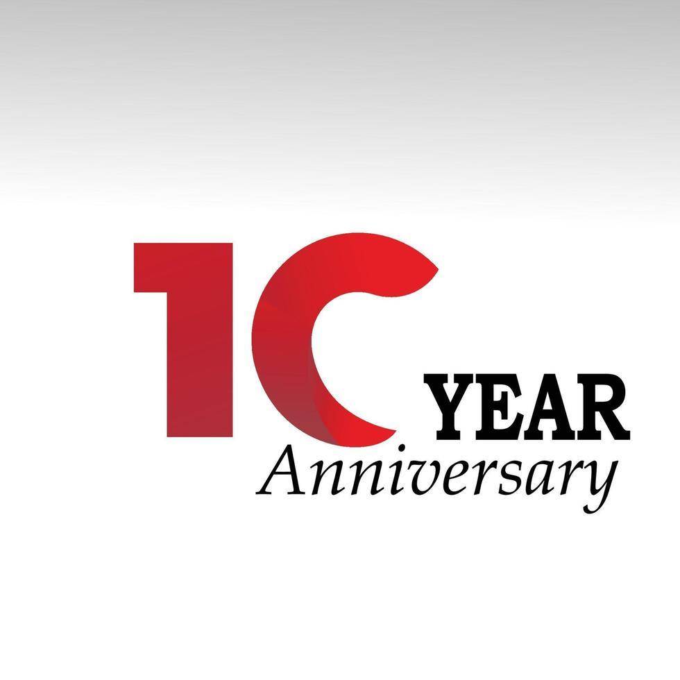 Ilustração de design de modelo de vetor vermelho aniversário de 10 anos