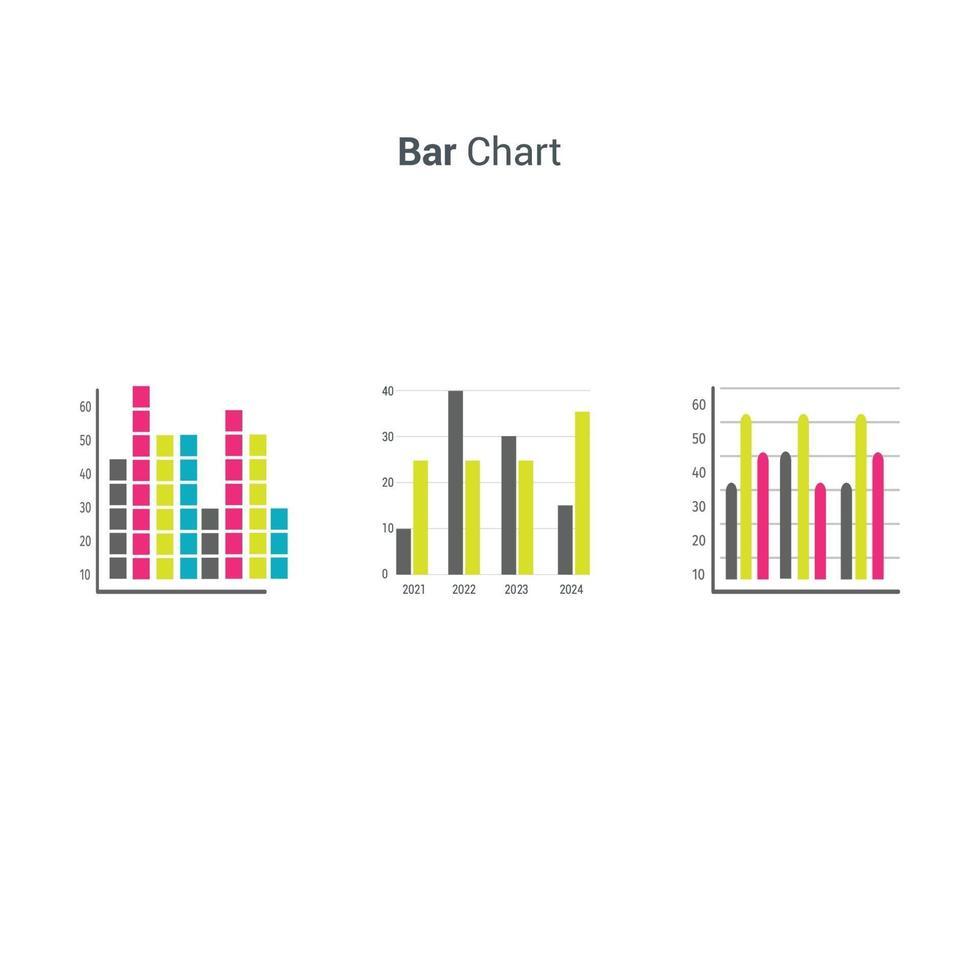 gráficos de barras de elementos de mercado de dados de negócios ilustração vetorial de diagramas. vetor