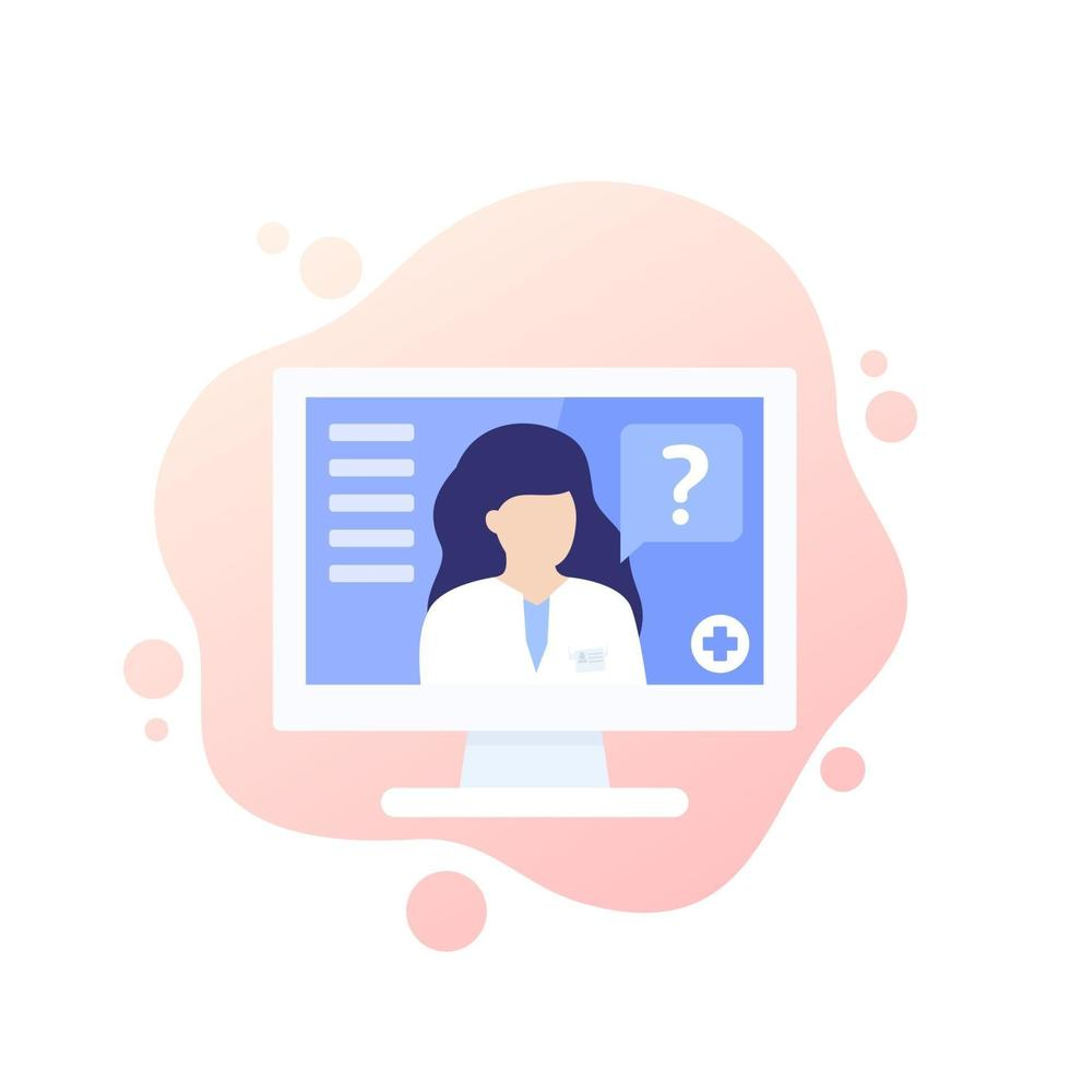 consulta médica online, ícone de diagnóstico com médico, médico online vetor