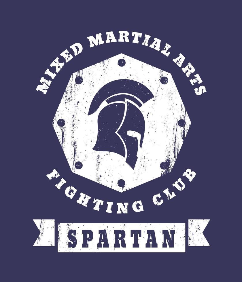espartano, emblema do grunge do clube de luta mma com capacete espartano vetor