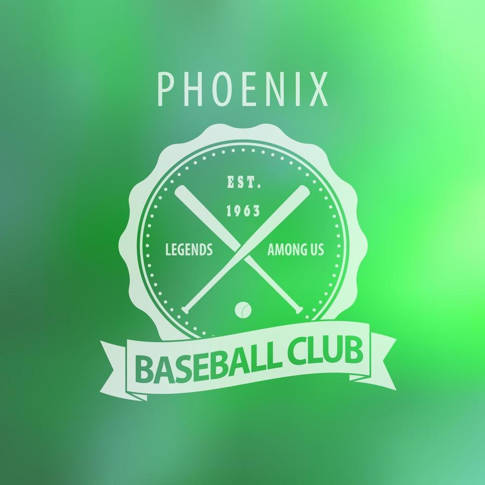 emblema vintage do clube de beisebol fênix em desfoque de fundo vetor