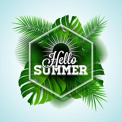 Olá ilustração tipográfica de verão vetor