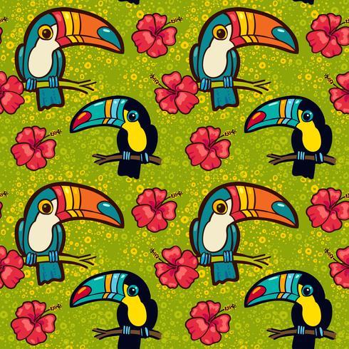 Tucano e Hibiscus. Padrão sem emenda verde tropical. vetor