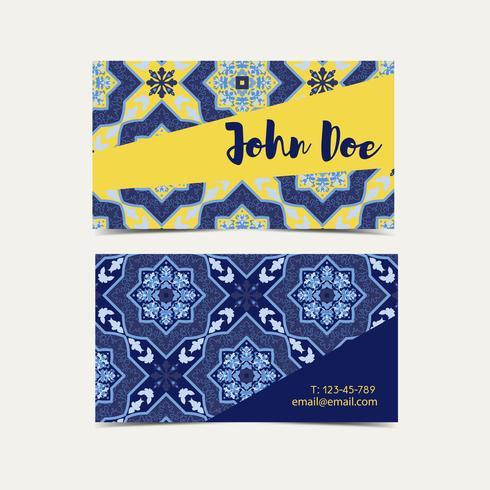 Cartão de visita azulejos portugueses. vetor