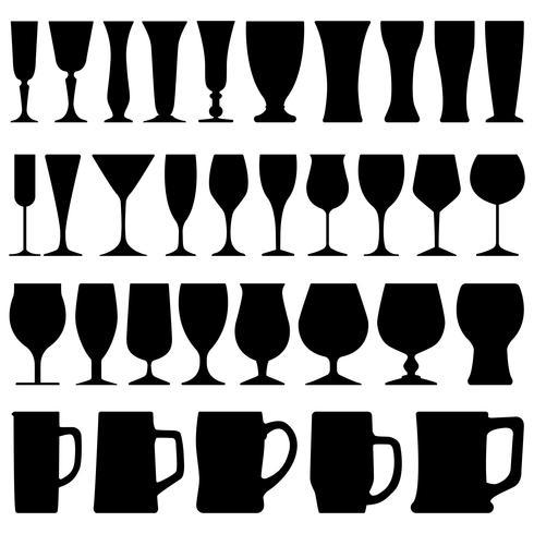 Conjunto de variedade de taças. vetor