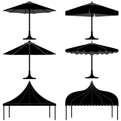 Silhueta do acampamento do dossel do miradouro da barraca do guarda-chuva. vetor