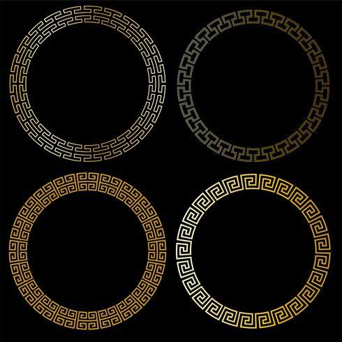 quadros de círculo de ouro fretwork vetor