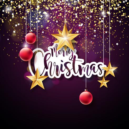 Feliz Natal mão Lettering ilustração vetor