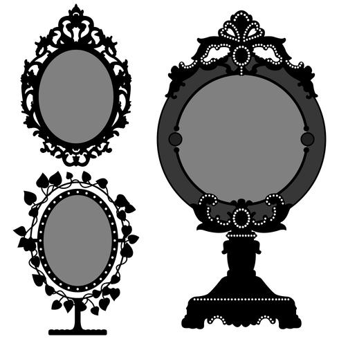 Espelhos ornamentados Vintage. vetor
