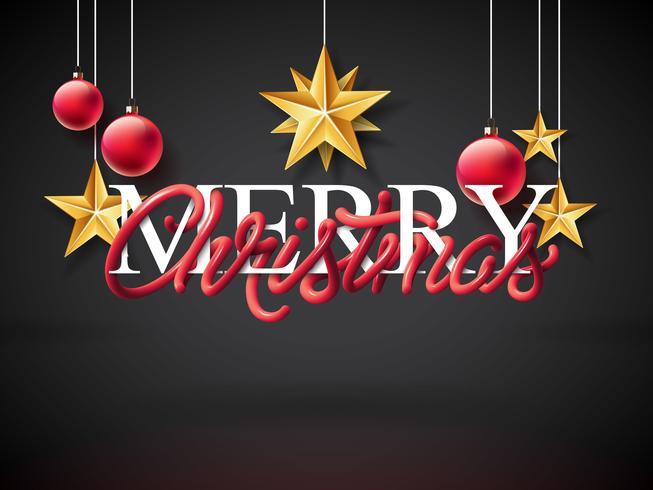 Ilustração de feliz Natal com Design de tipografia de tubo entrelaçado vetor