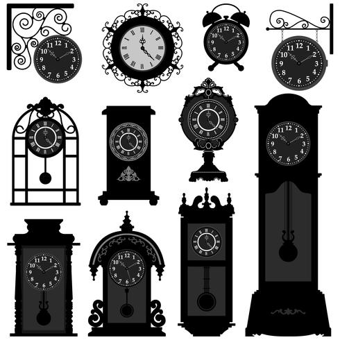 Relógio antigo conjunto vetor