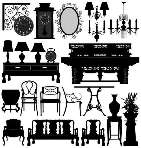 Conjunto de móveis antigos. vetor