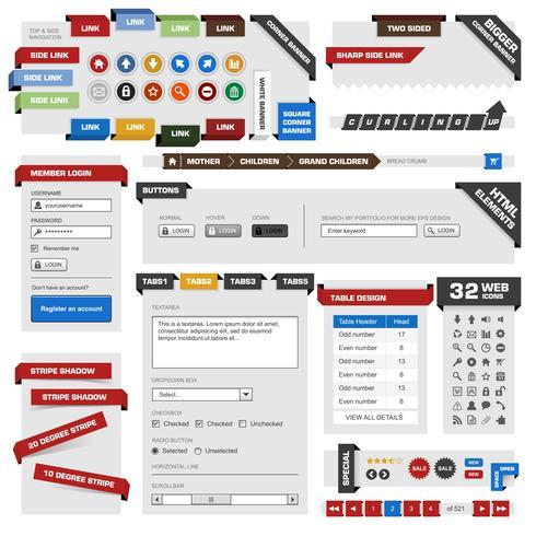 Modelo de elemento de design da Web. vetor