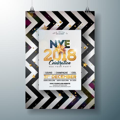 Modelo de cartaz - celebração do ano novo de 2018 vetor