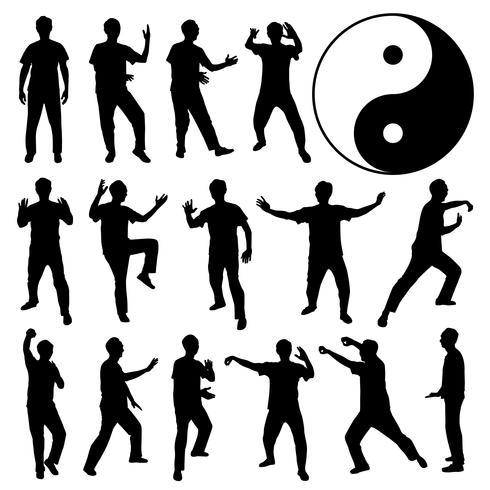 Arte Marcial Kung Fu Autodefesa. vetor