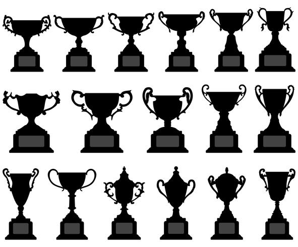 Troféu Copa Silhueta Preto Set. vetor