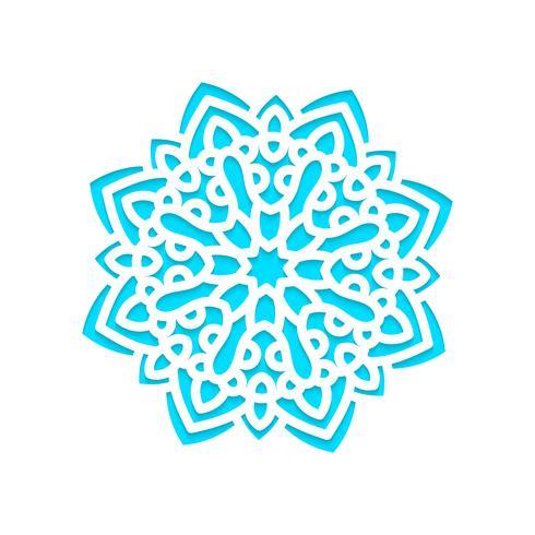 Modelo de flocos de neve a laser cortado e gravado. vetor