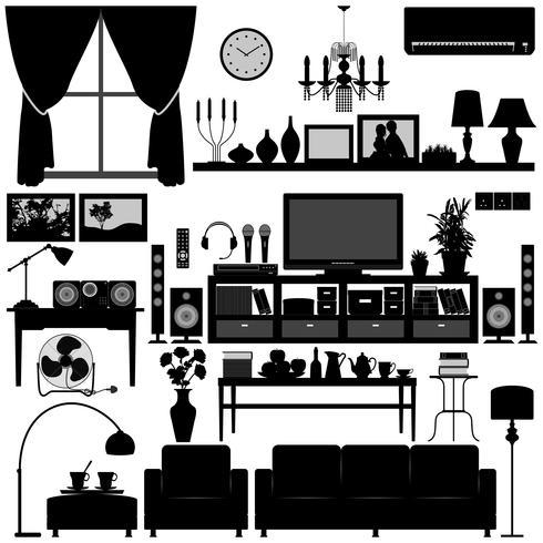 Mobiliário de sala de estar vetor