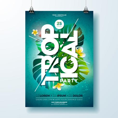 Tropical Party Flyer Design com flores e plantas tropicais vetor