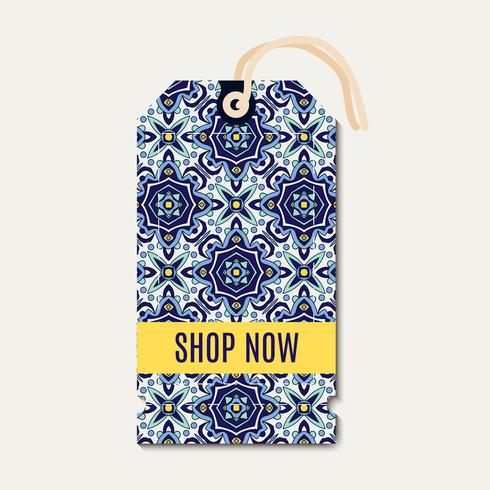 Tag com azulejos de ornamento azul Português. vetor