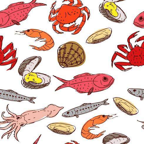 frutos do mar sem emenda vetor