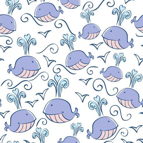 padrão sem emenda com doodle baleias vetor