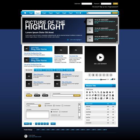 Web design site elemento modelo botão. vetor
