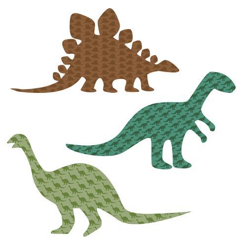 silhuetas de dinossauro estampados vetor