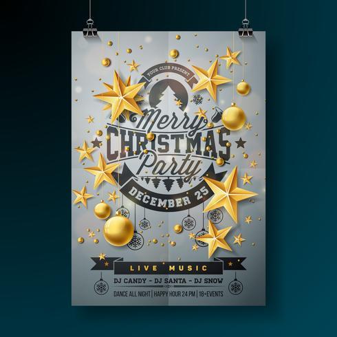 Vector Design de festa de Natal feliz com tipografia de férias