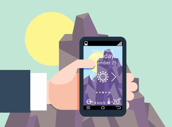 Homem moderno designof plana segurando o smartphone com navegação gps móvel vetor