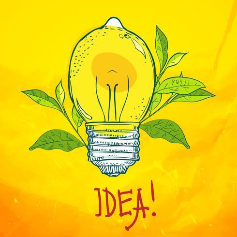 lâmpada em forma de limão. Idéia. vetor