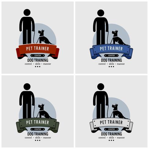 Cão de design de logotipo de treinamento. vetor