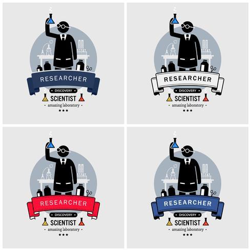 Design de logotipo de cientista e laboratório. vetor