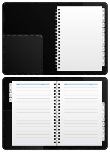 Caderno diário, pasta de anel. vetor