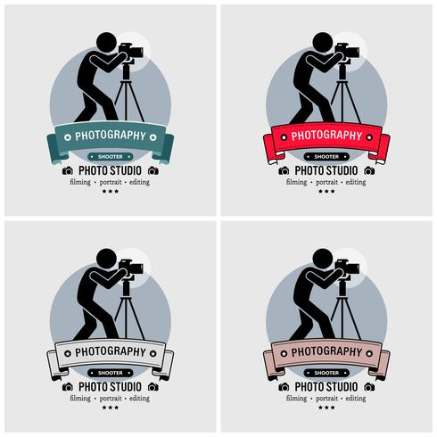 Projeto do logotipo do estúdio da fotografia do fotógrafo. vetor