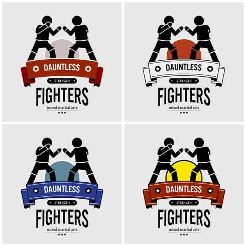 MMA design de logotipo de artes marciais mistas. vetor