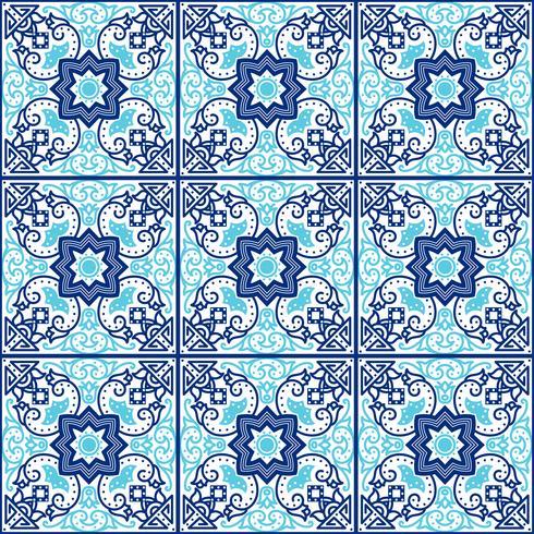 Azulejos portugueses. Padrões sem emenda. vetor