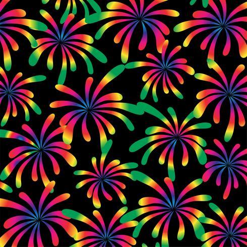 padrão de fogos de artifício de arco-íris em fundo preto vetor