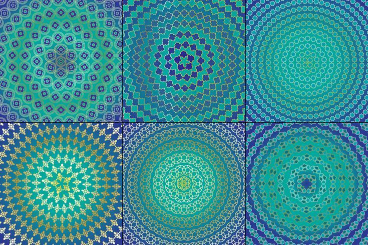Padrões circulares marroquinos azuis e dourados vetor