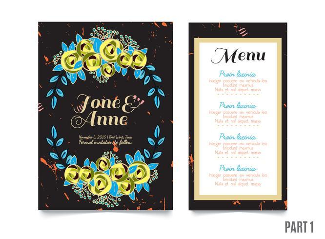 Cartão na moda com rosas para casamentos, salvar o convite de data vetor
