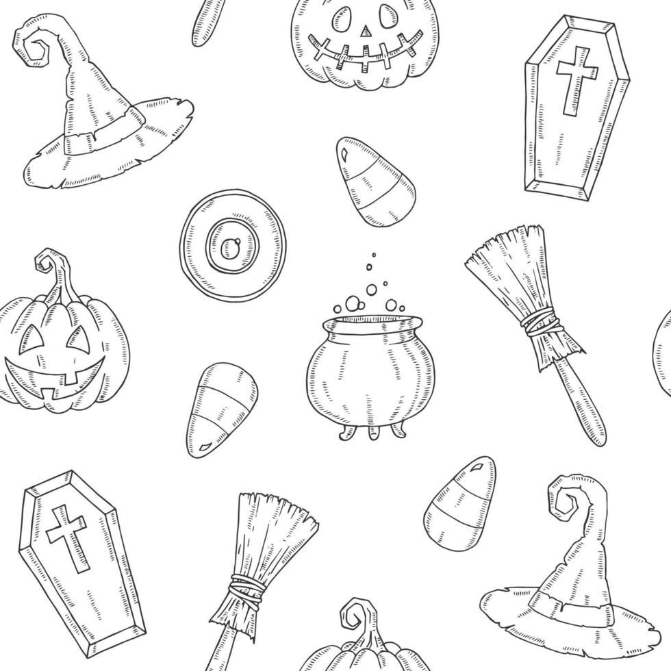 padrão sem emenda com ícones de halloween no estilo de desenho. vetor