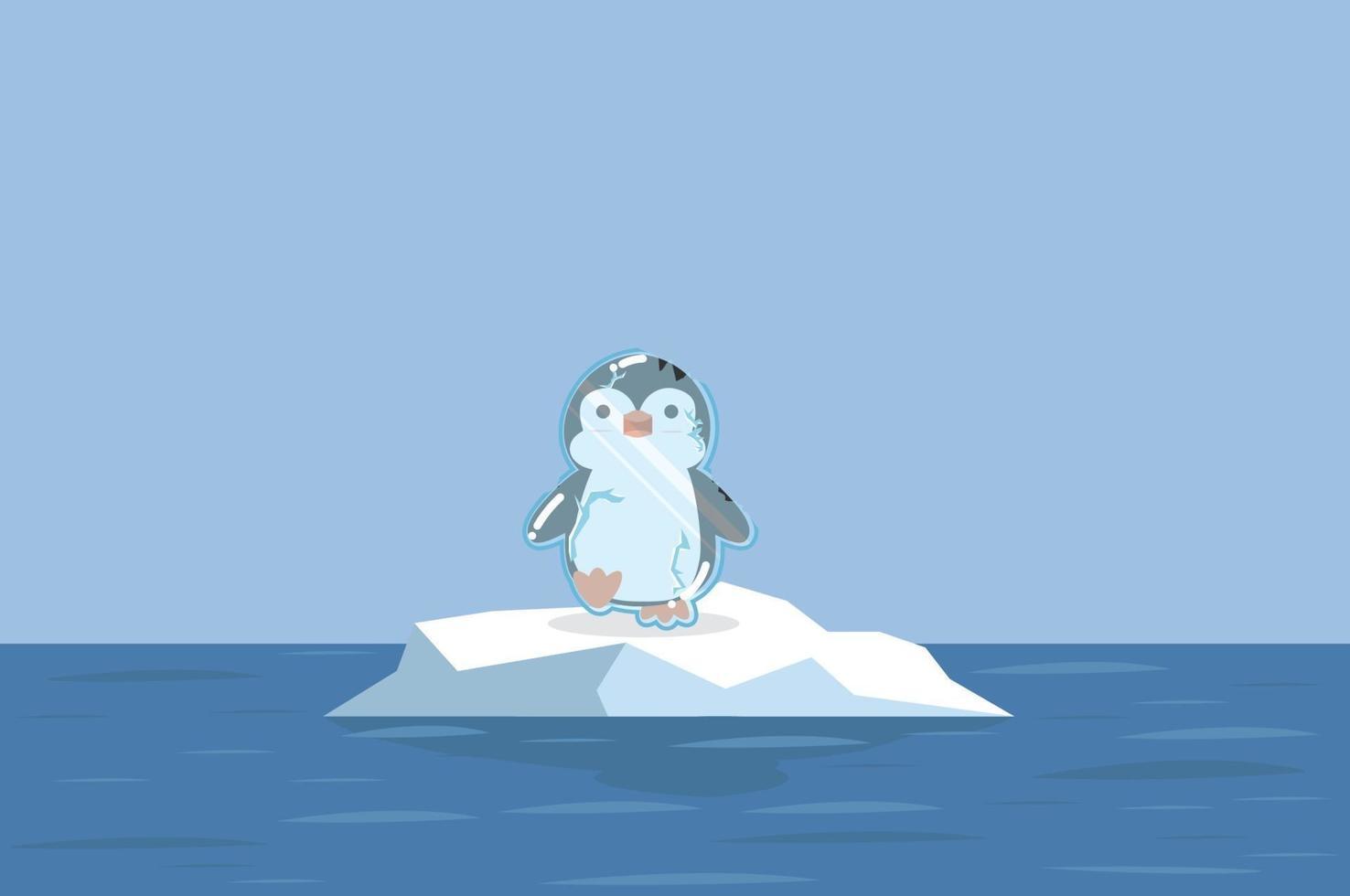 pinguim fofo congelado com pólo norte ártico vetor