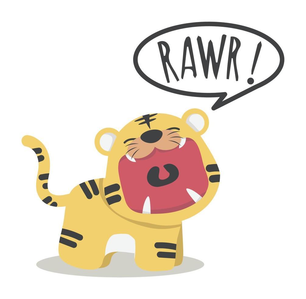 tigre fofo rugido de boca aberta vetor
