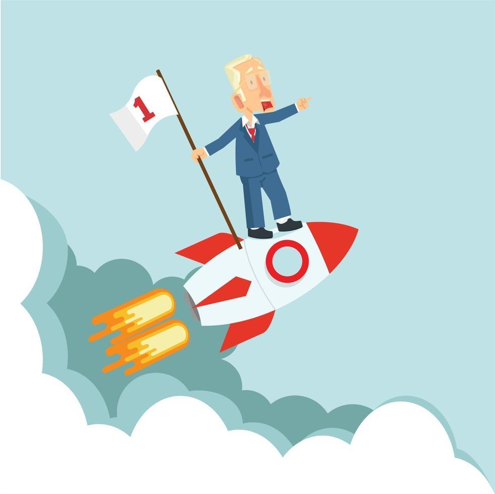 empresários em um foguete voador com bandeira vetor