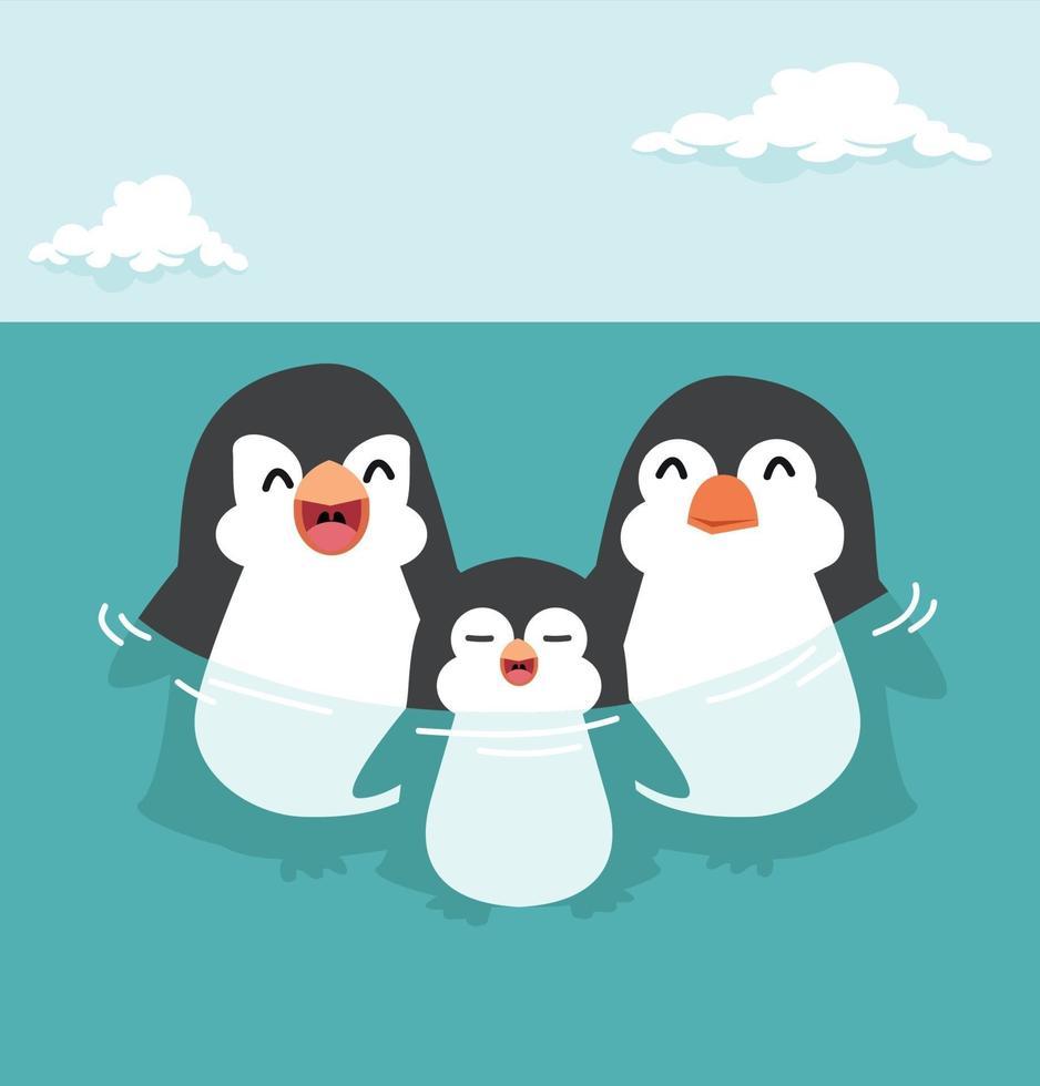 desenho animado de família feliz de pinguins fofos vetor
