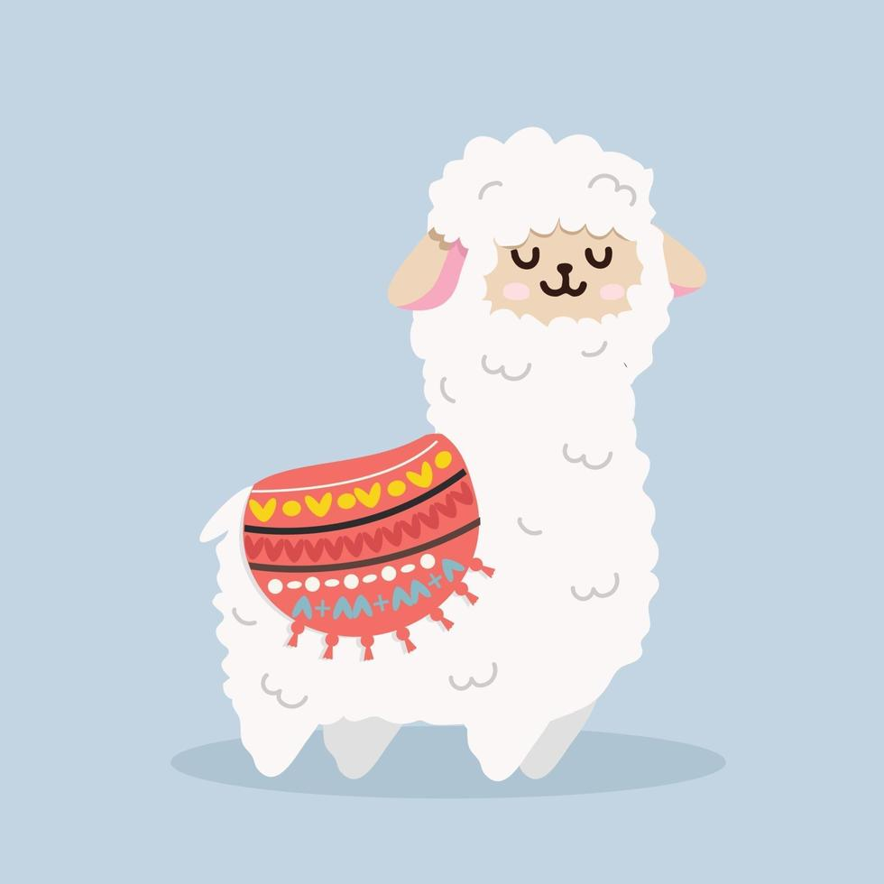 vetor fofo de lhama de alpaca