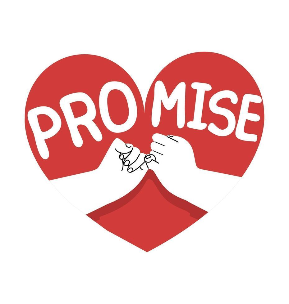mão desenhada promessa mindinho com conceito de ícone de coração vetor